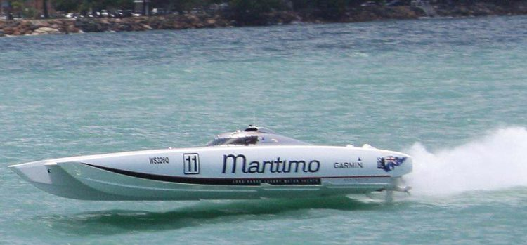 Maritimo at full throttle on the water in Hervey Bay